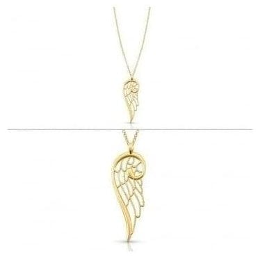 Angel Necklace In Sterling Silver (Large) (012_Yellow Gold)
