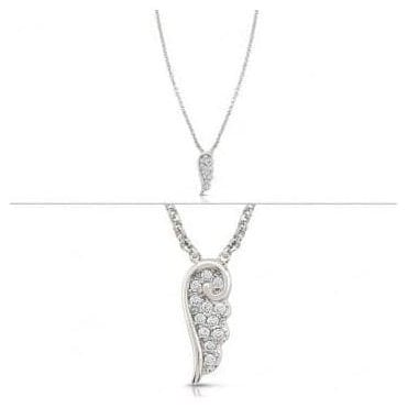 Angel Necklace In Sterling Silver With Cubic Zirconia (010_Silver)