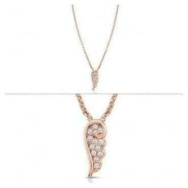 Angel Necklace In Sterling Silver With Cubic Zirconia (011_Rose Gold)