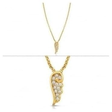 Angel Necklace In Sterling Silver With Cubic Zirconia (012_Yellow Gold)