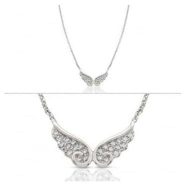 Angel Necklace In Sterling Silver With Cubic Zirconia (Double) (010_Silver)