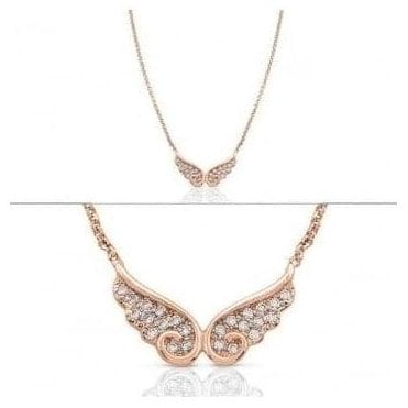 Angel Necklace In Sterling Silver With Cubic Zirconia (Double) (011_Rose Gold)