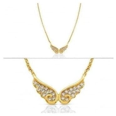 Angel Necklace In Sterling Silver With Cubic Zirconia (Double) (012_Yellow Gold)