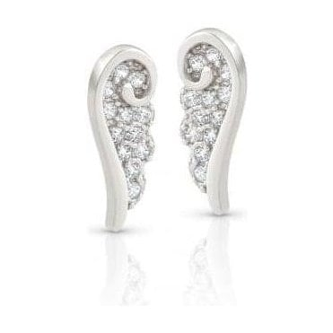 Angel Earrings In Sterling Silver With Cubic Zirconia (010_Silver)
