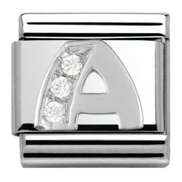 Composable Classic Alphabet Cubic Zirconia And 925 Silver (A)