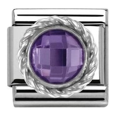Composable Classic Link Cz Round Faceted Stones Purple (330601/001)