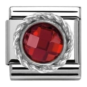 Composable Classic Link Cz Round Faceted Stones Red (330601/005)