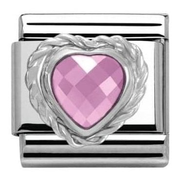 Composable Classic Link Heart Faceted Cz Pink (330603/003)