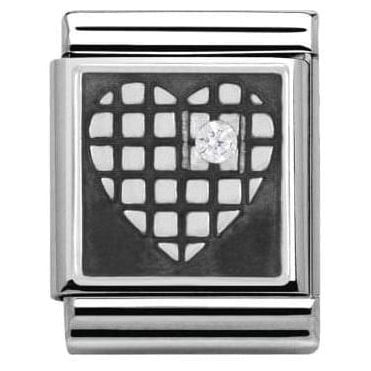 Heart With Grid White Cz