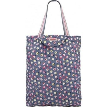 Tote, Foldaway Cotton Ditsy Mid Blue 597333