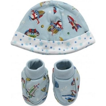 Hat and bootie gift set Spaceships Aqua Blue 625470