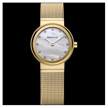 Classic Watch, Gold Mesh Strap and White mother of pearl Dial 10122-334