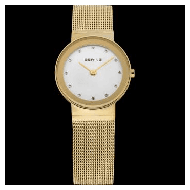 Classic Watch, Gold Mesh Strap and White Dial 10126-334