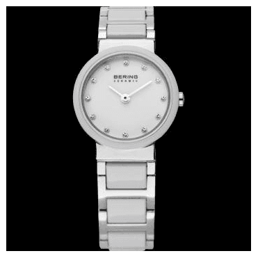 Ceramic Watch, White Part Ceramic Strap and Silver Dial 10725-754