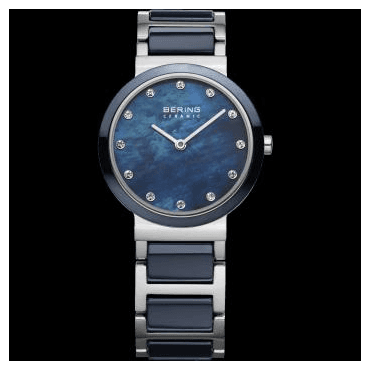 Ceramic Watch, Blue Part Ceramic Strap and Blue mother of pearl Dial 10729-787