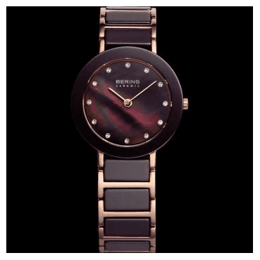 Ceramic Watch, Brown Part Ceramic Strap and Grey Dial 11429-765
