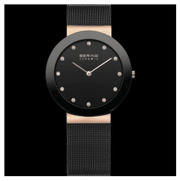 Ceramic Watch, Black Mesh Strap and Black Dial 11435-166