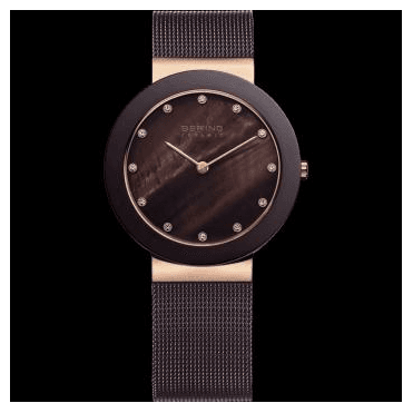 Ceramic Watch, Brown Mesh Strap and Brown Dial 11435-262