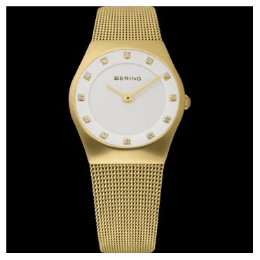 Classic Watch, Gold Mesh Strap and White Dial 11927-334