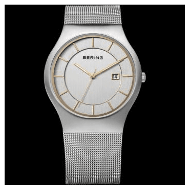 Classic Watch, Silver Mesh Strap and White mother of pearl Dial 11938-001