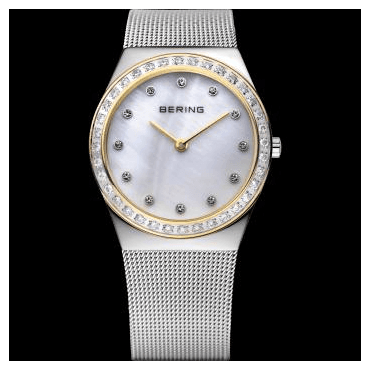 Classic Watch, Silver Mesh Strap and White mother of pearl Dial 12430-010