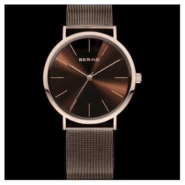 Classic Watch, Brown Mesh Strap and Brown mother of pearl Dial 13436-265