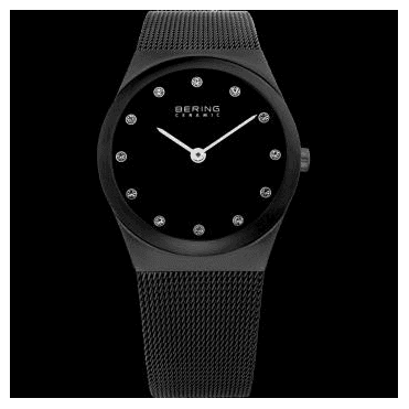 Ceramic Watch, Black Mesh Strap and Black Dial 32230-382
