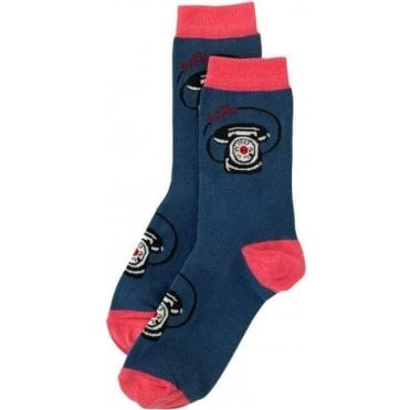 Day Socks Telephones Mid Blue 608589