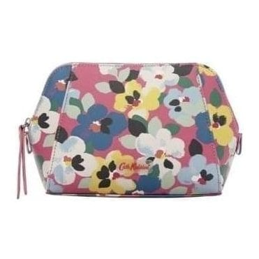 Painted Pansies Large Smart Make up Bag in Mid Pink