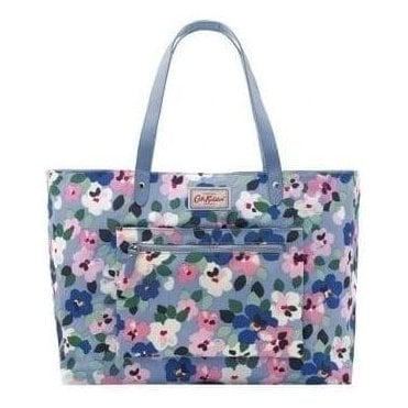 Large Reversible Shoulder Tote in Grey Blue Painted Pansies