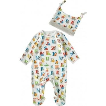 Baby Sleep Suit & Hat Gift Set Animal Alphabet Multi