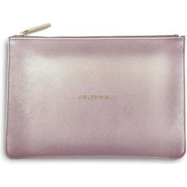 Live Love Sparkle Perfect Pouch in Metalic Pink