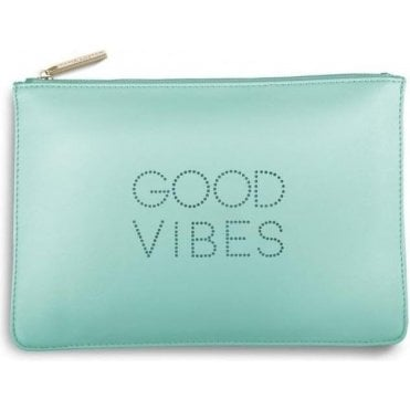Good Vibes Polka Dot Pouch in Pale Mint