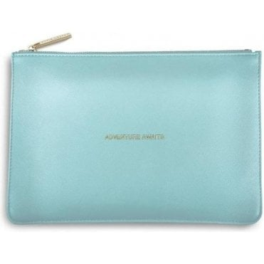 Adventure Awaits Perfect Pouch in Metalic Aqua