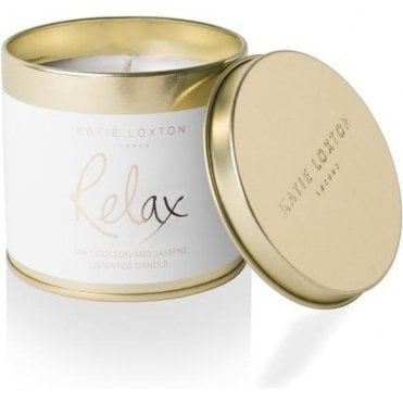 Relax Round Tin Candle in Soft Cotton And Jasmine