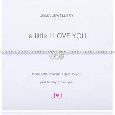 A Little I Love You - Bracelet - Silver With X 3 Silver Hearts With The Words I Love You