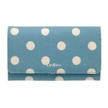 Button Spot Large Foldover Wallet in Soft Teal