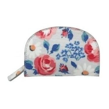 Crescent Coin Purse Daisies & Roses Cool Blue