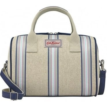 Striped Straw Bowler Bag Breton Stripe Cool Blue