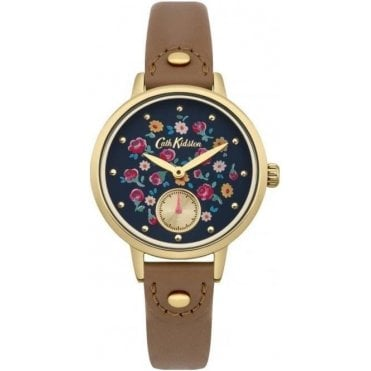 Little Flower Buds Tan Leather Strap Sub Dial Watch