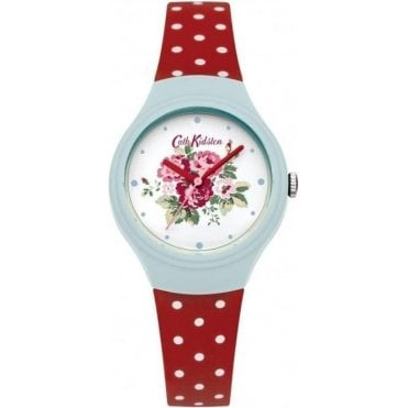 Spray flowers Red Polka Dot Silicone Strap Watch