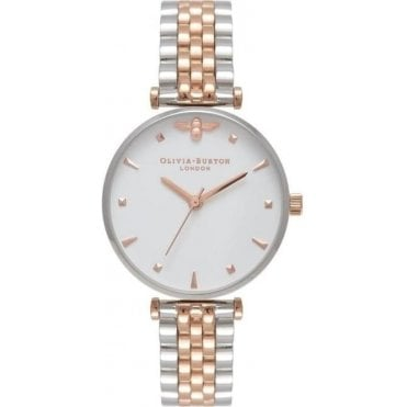 Silver & Rose Gold Queen Bee Watch