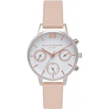 Nude Peach, Silver & Rose Gold Midi Dial Chrono Detail Watch