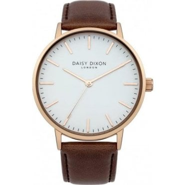 Alexa Oversized Brown Leather Watch