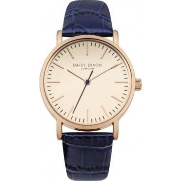 Georgia Rose Gold with Navy Crocodile Strap Watch