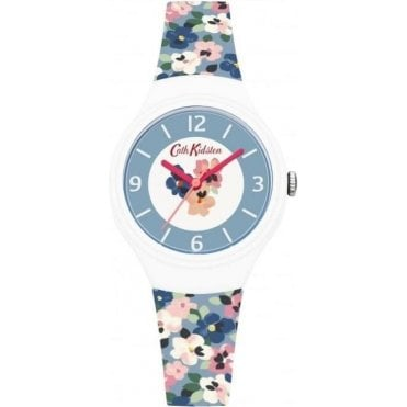 Painted Pansies Blue Silicone Strap Watch