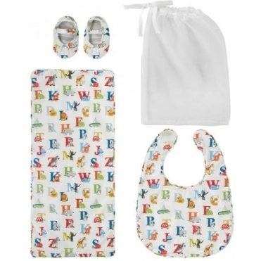 Animal Alphabet Bib, Burping Cloth And Bootie Set