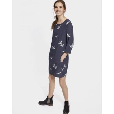 Ladies Ambion Dress With Dropped Waist And Pockets