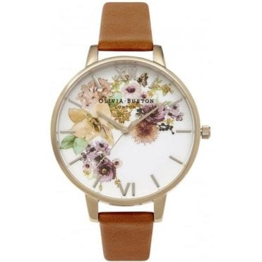 Painterly Prints Watercolour And Tan Watch