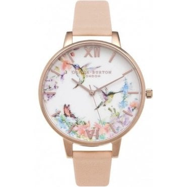 Painterly Prints Humming Bird Peach And Rose Gold Watch